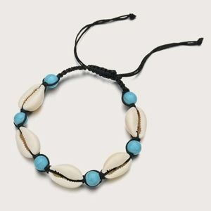 Shell and turquoise bead adjustable anklet